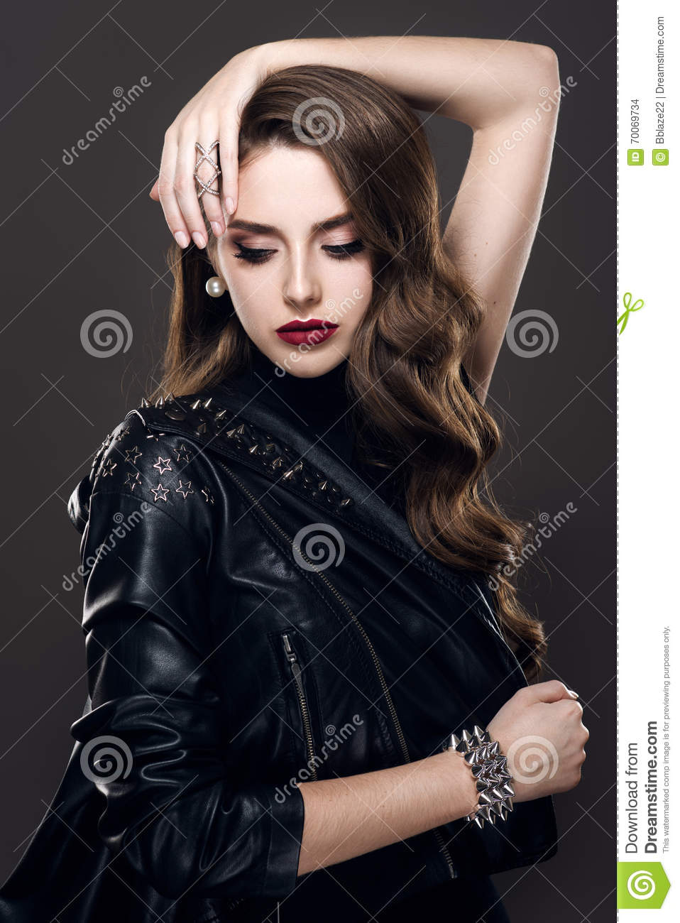 Glamorous Young Beautiful Rock Style Girl In Black Leather ...