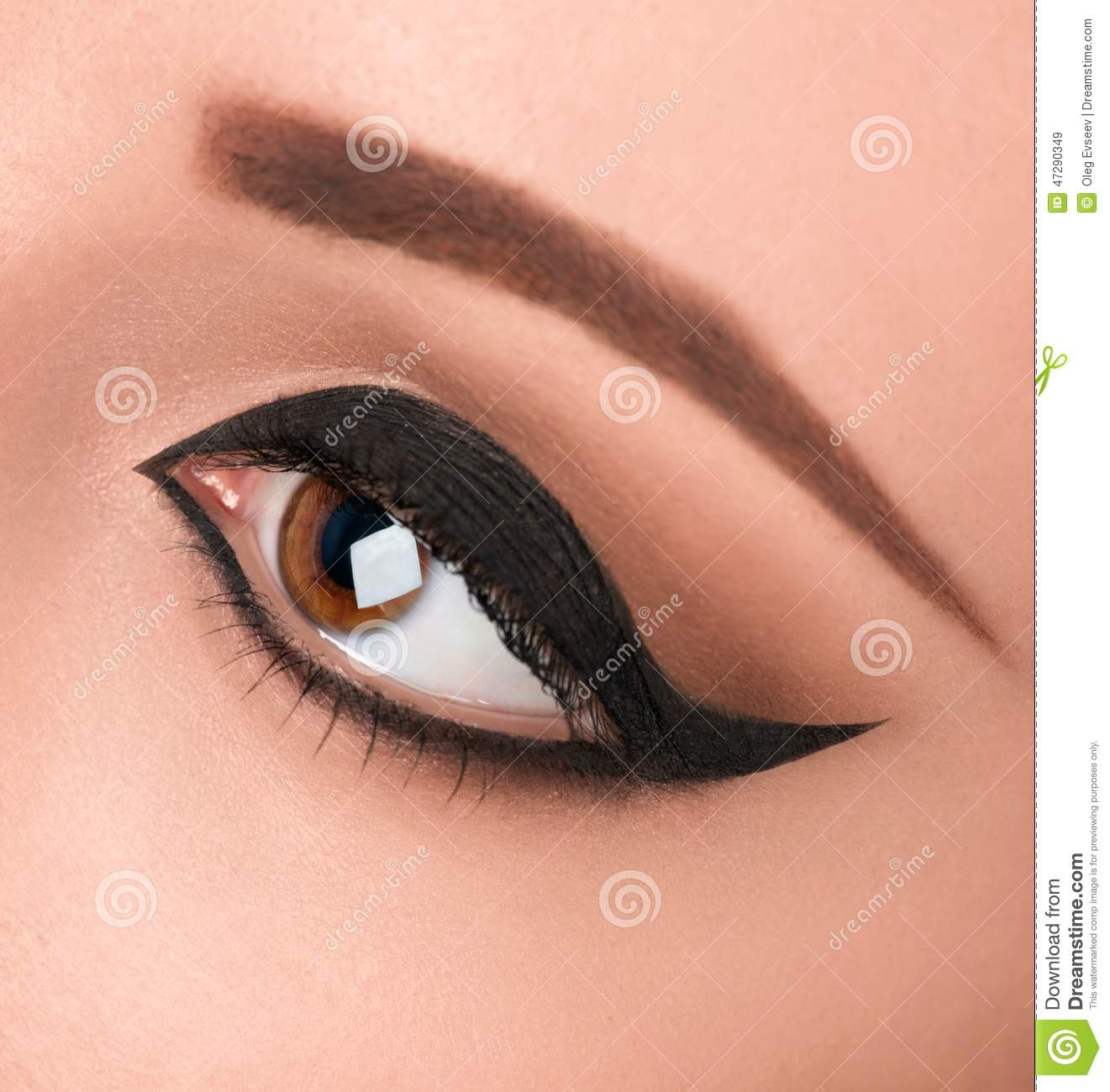 Glamour Black Eye Make Up With Wide Arrow Stock Image Image Of