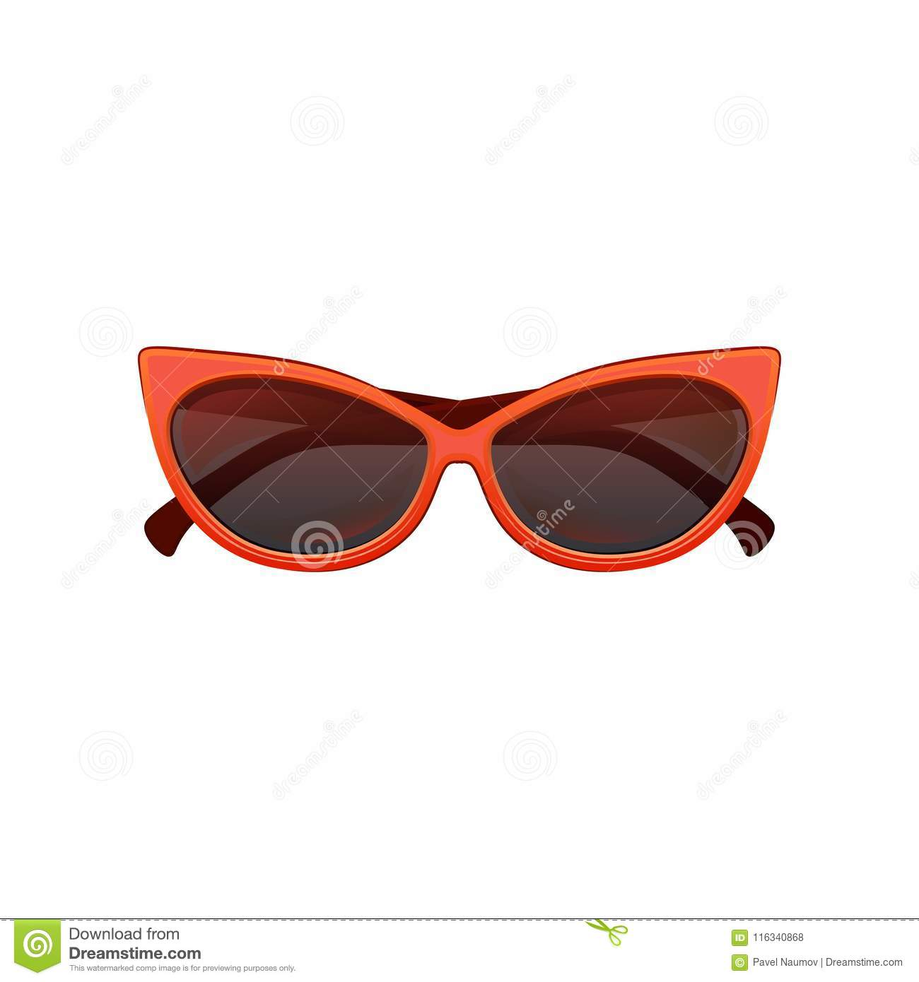 c06999cbdd Glamour cat eye sunglasses with black tinted lenses and bright red plastic  frame. Stylish protective