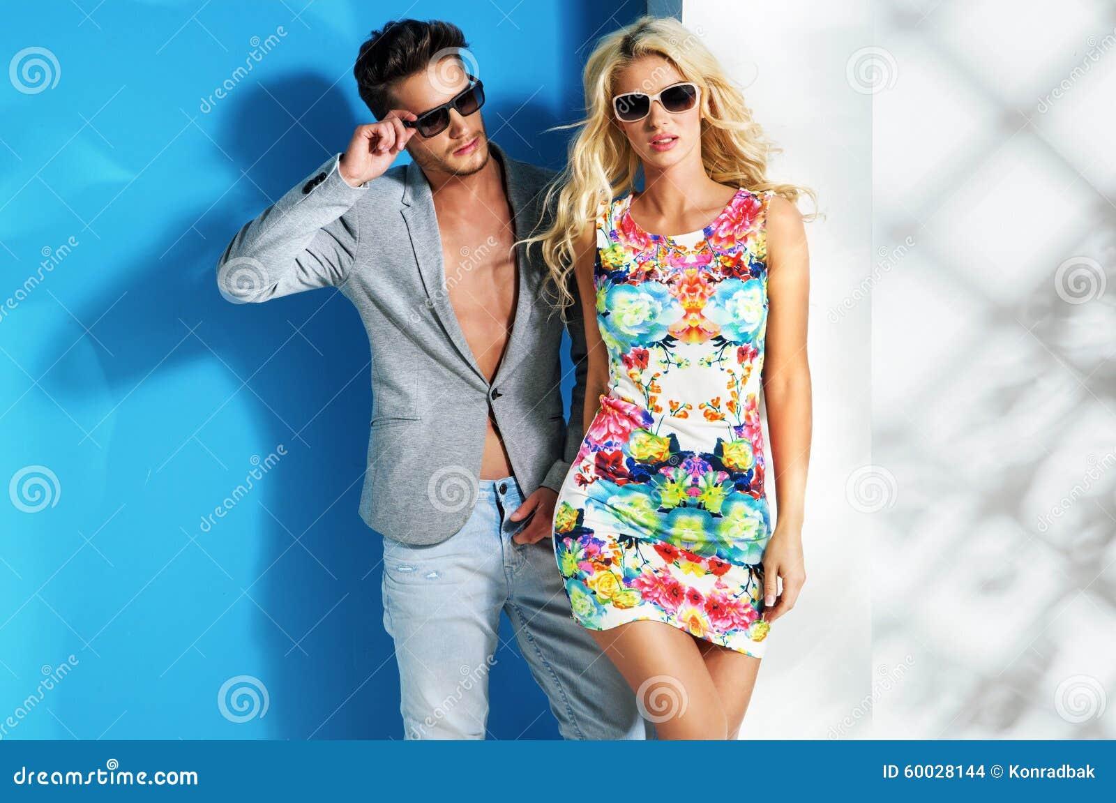 Glamour Couple Wearing Trendy Summer Stuff Stock Photo ...