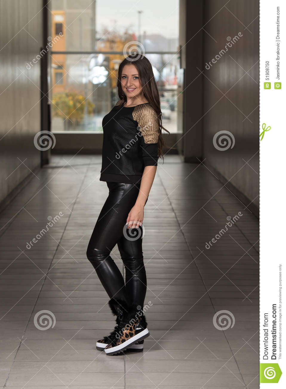 Glamour Fashion Model Wearing Leather Pants And Shirt ...