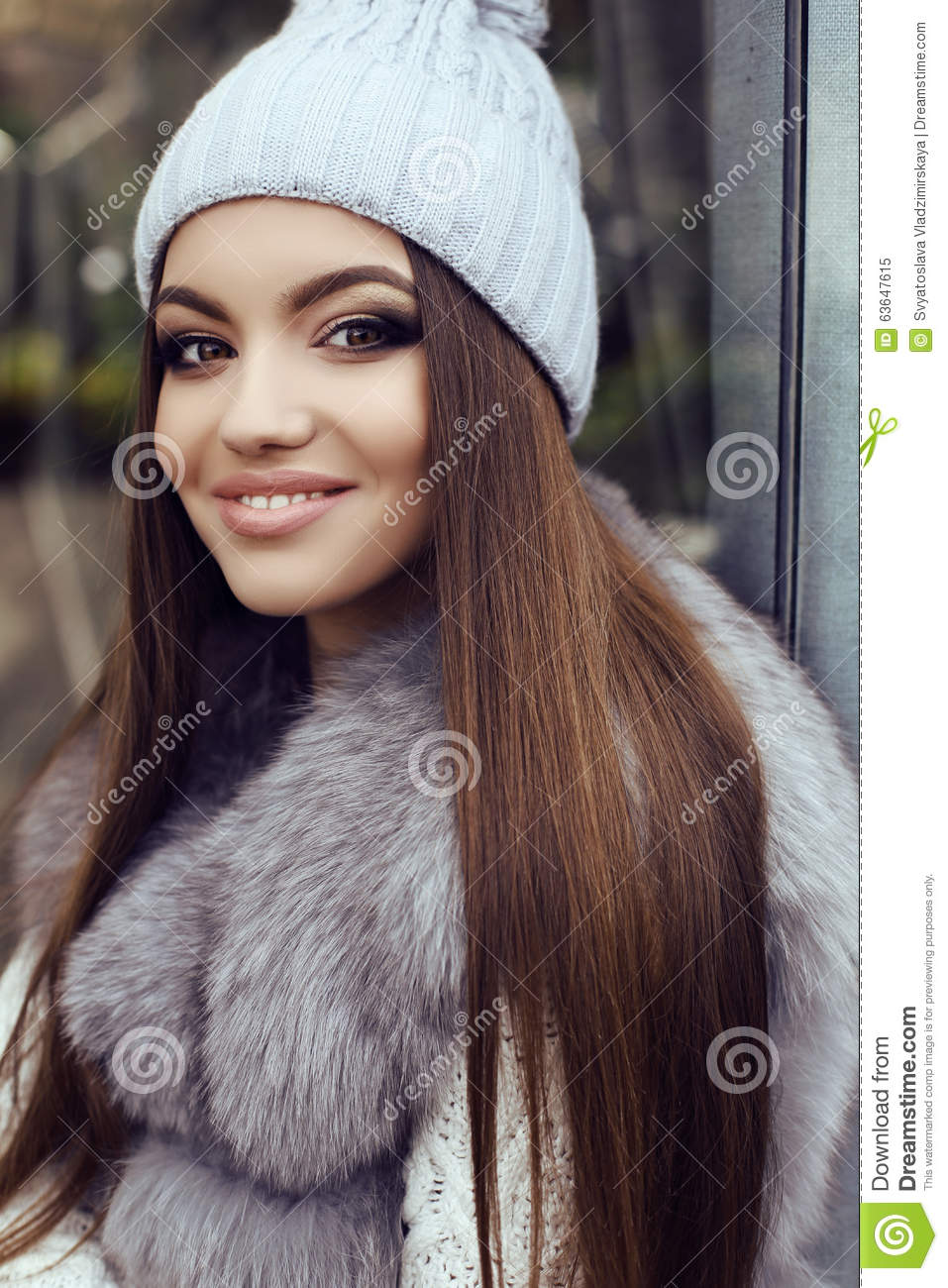 Glamour Girl With Dark Straight Hair Wears Luxurious Fur Coat And ...