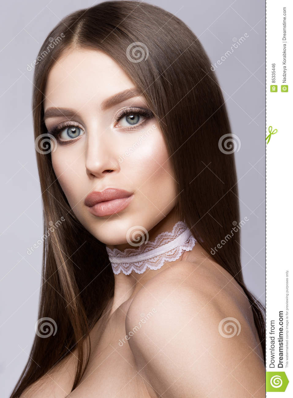Glamour Portrait Of Beautiful Delicate Woman With Fresh