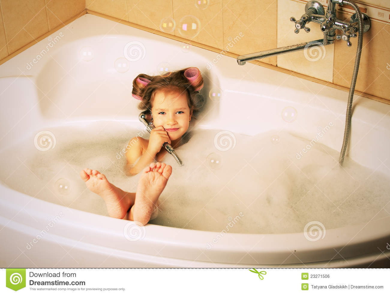 Glamour Little Girl In The Bathtub Stock Photo - Image of cheerful ...