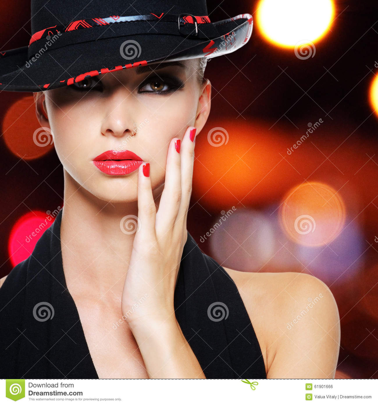 Glamour woman with beautiful red lips