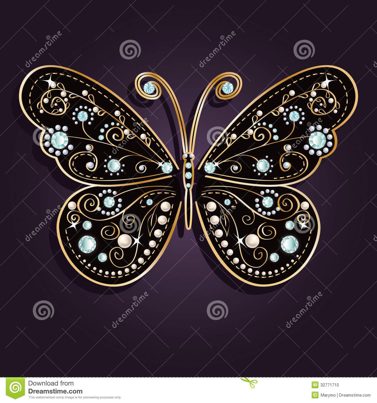 Glamour Vector Golden Butterfly Stock Photo Image 32771710