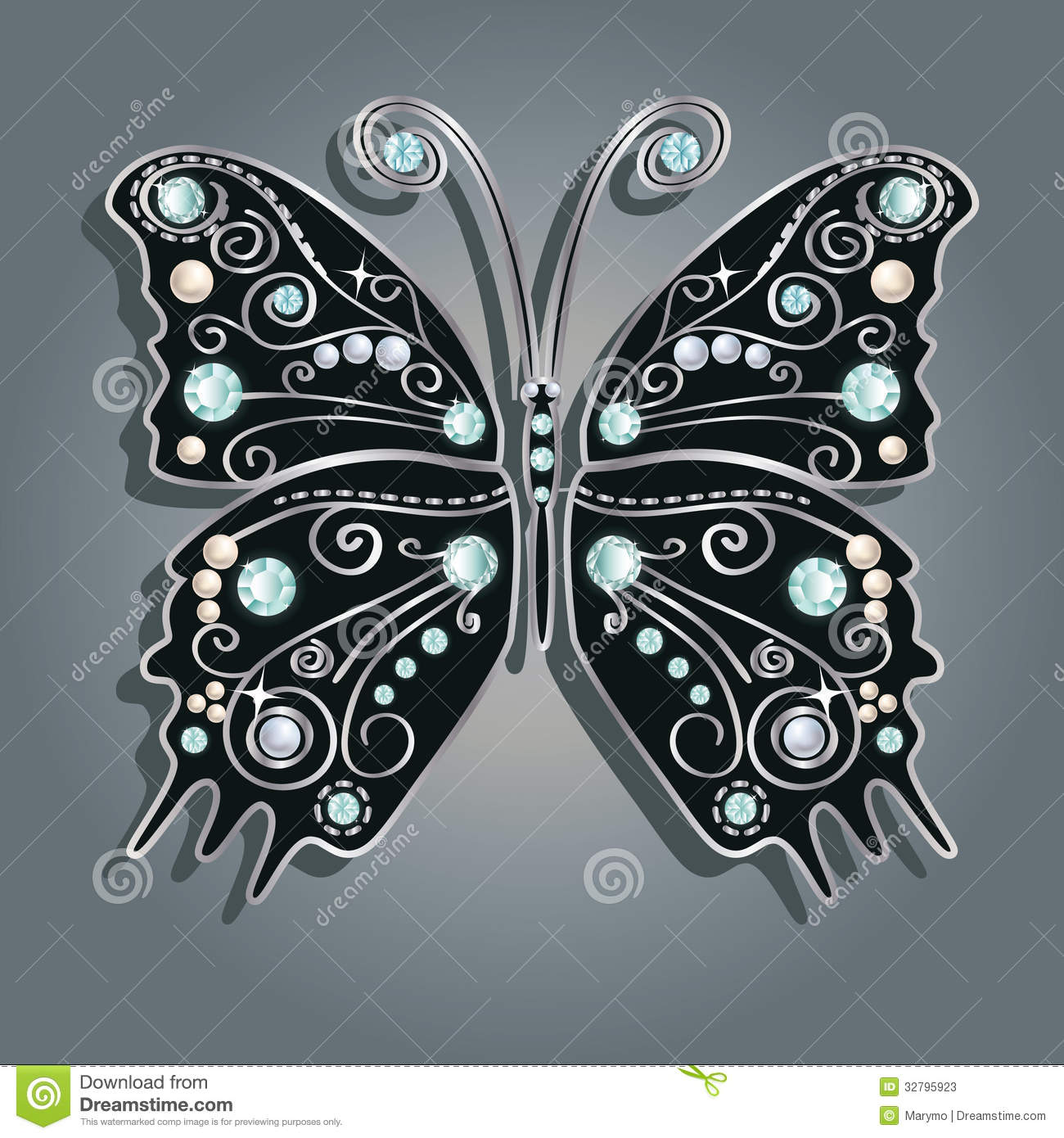 glamour vector vintage silver butterfly stock vector