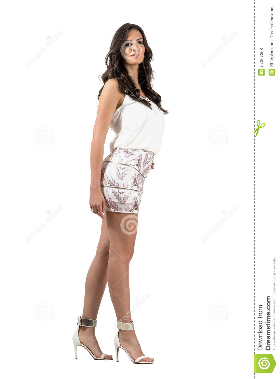 Glamour Vogue Hispanic Woman In Short Mini Skirt Posing ...
