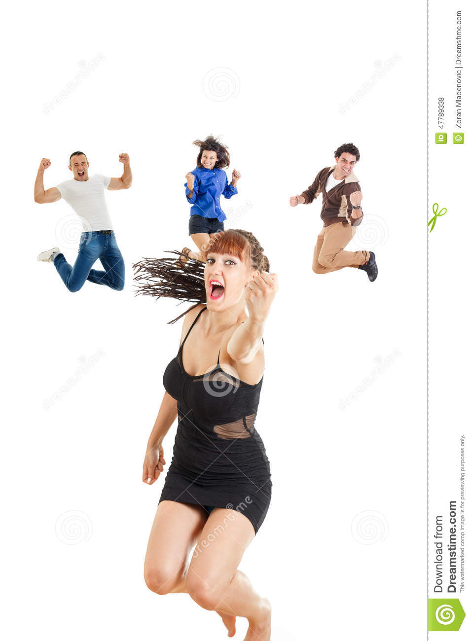 Glamour woman in dark dress or girl jumping with fist up of joy
