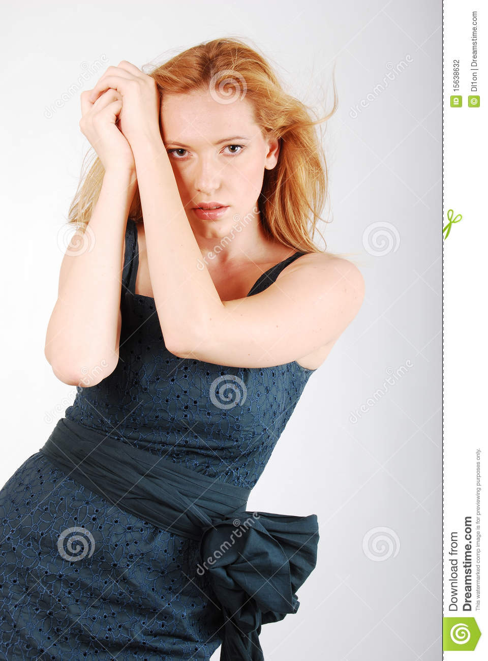 Glamour Young Girl Fashion Gray Dress Stock Photography