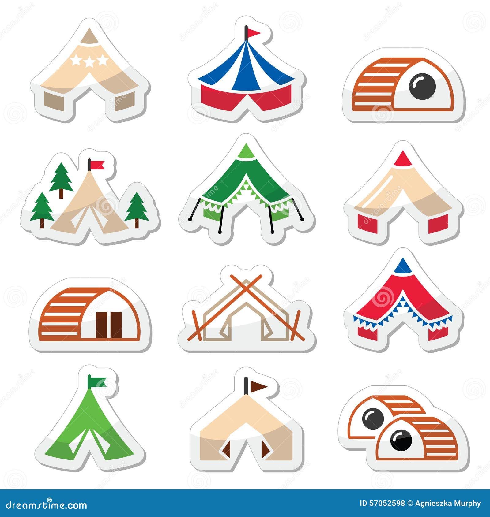 Glamping, luxueuze het kamperen tenten en de pictogrammen geplaatste van bambuhuizen