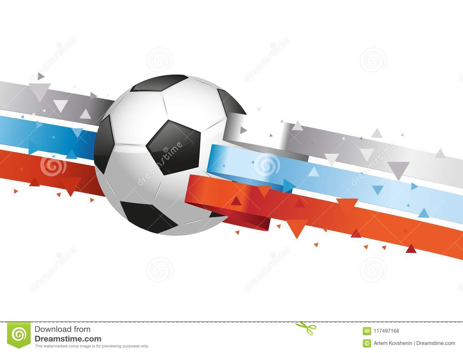 Glansig boll med den ryska flaggan