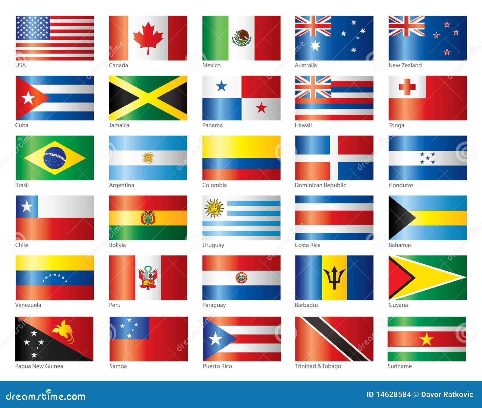 Glansig oceania för Amerika flaggor set