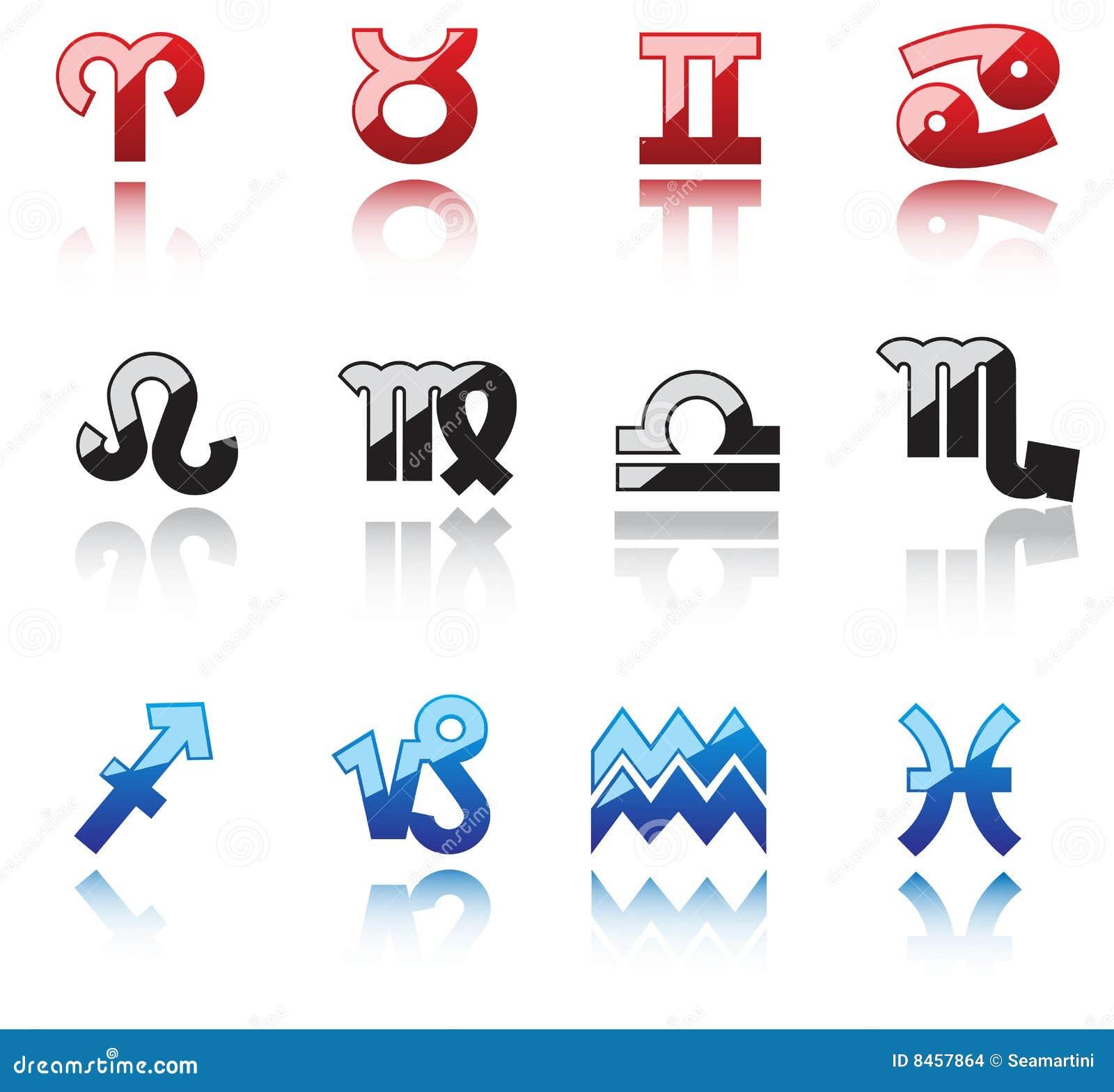 Glansiga horoskopsymboler