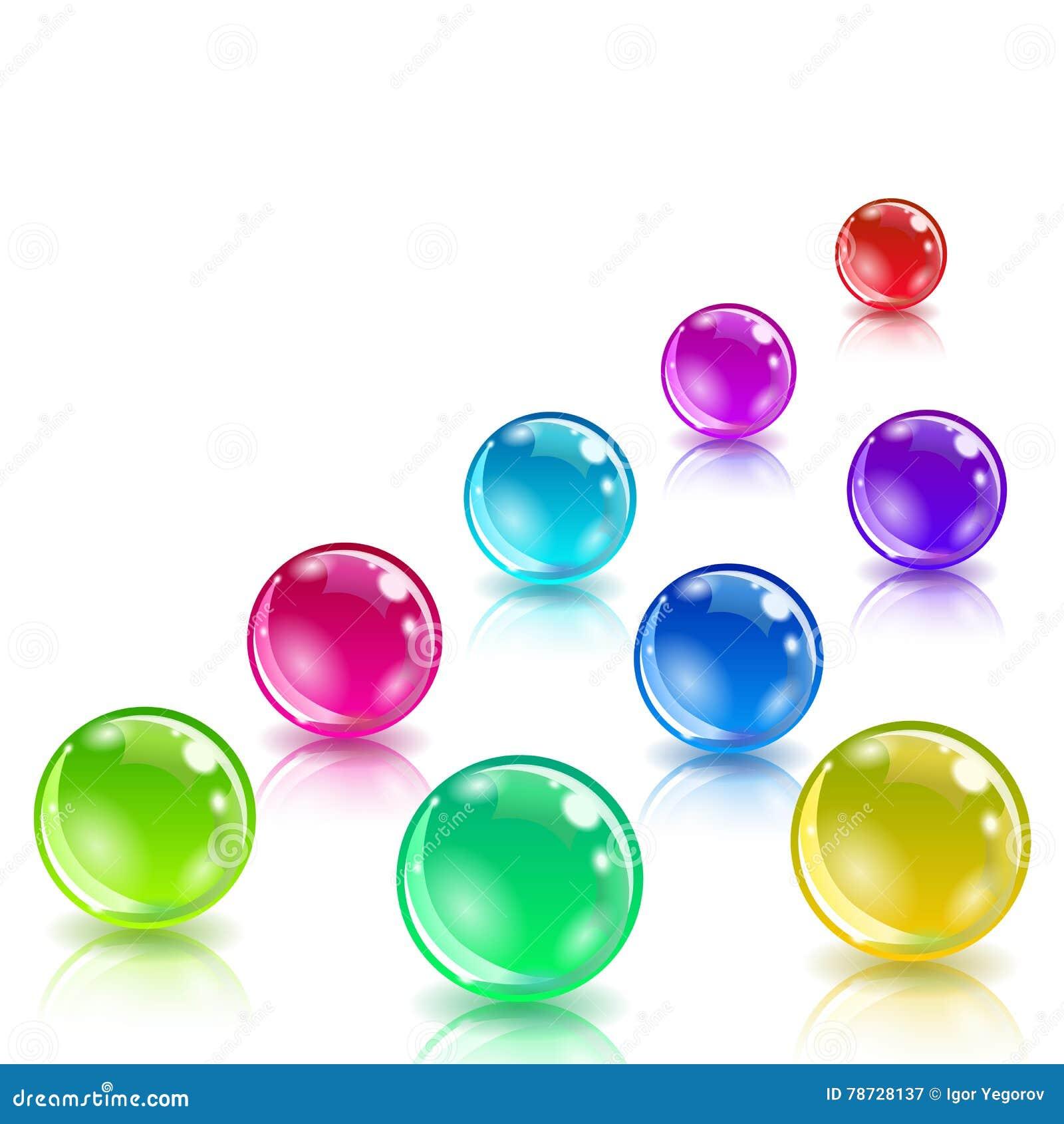 Glansiga kulöra bollar med reflexion