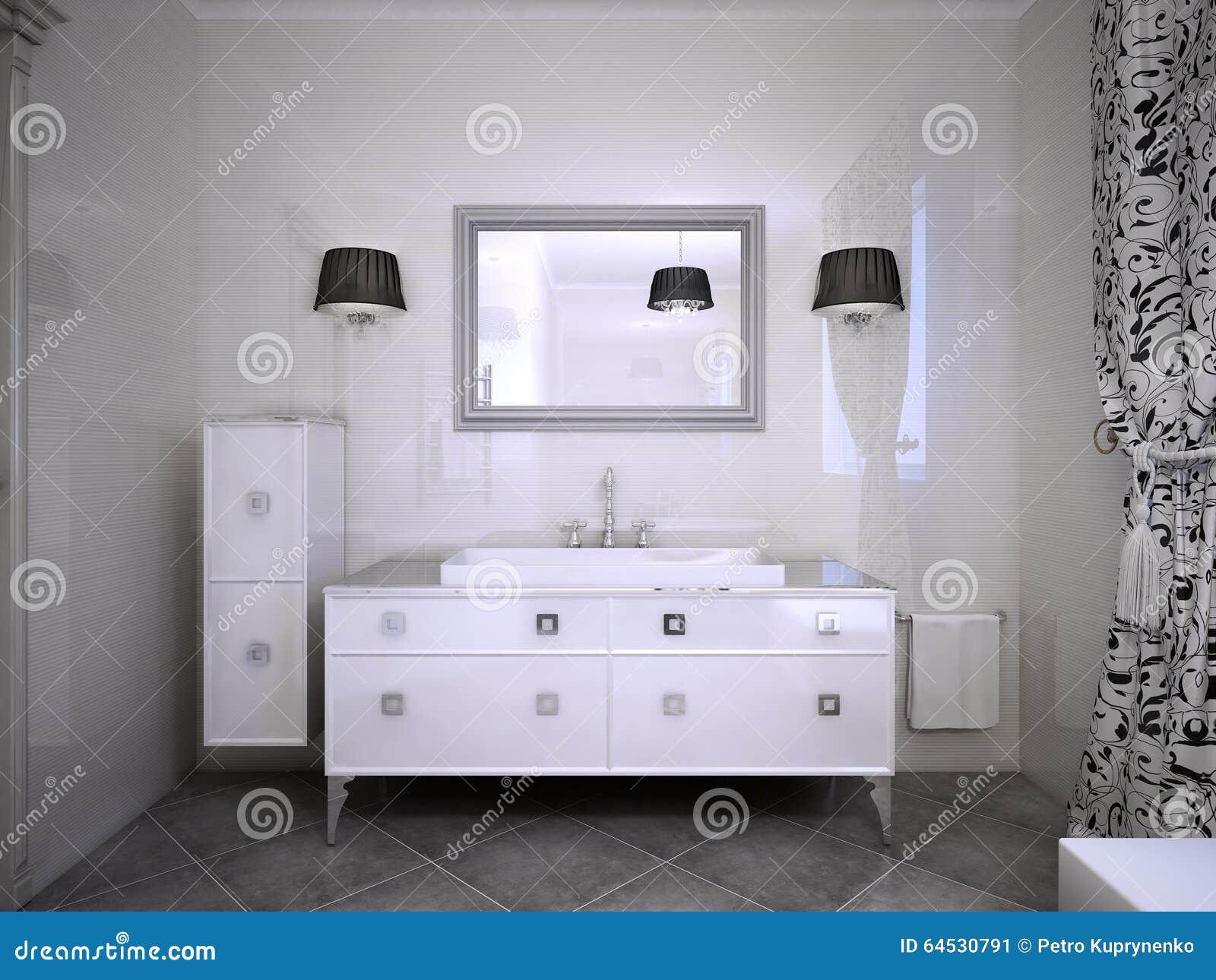 Glansigt vitt möblemang i badrum arkivfoto   bild: 64530791