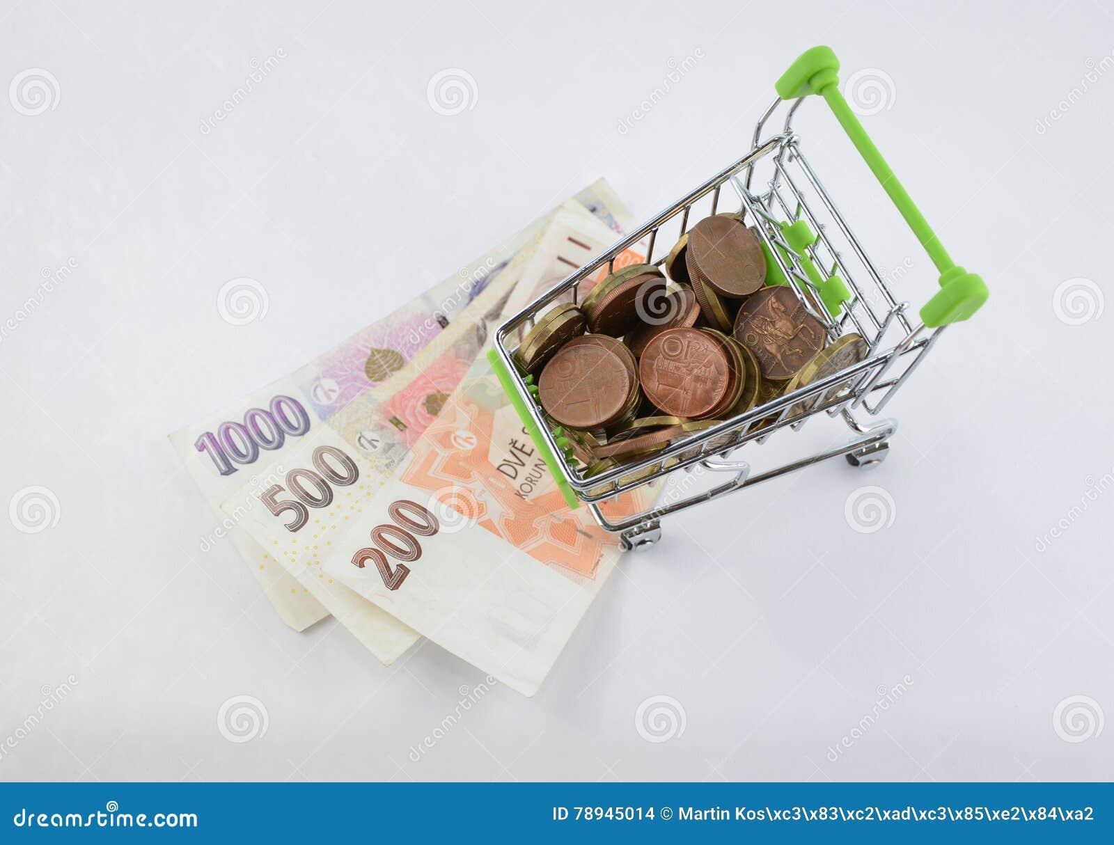 Glansowane i kolorowe monety z banknotami w shoping furze Pieniężna rzecz Tło