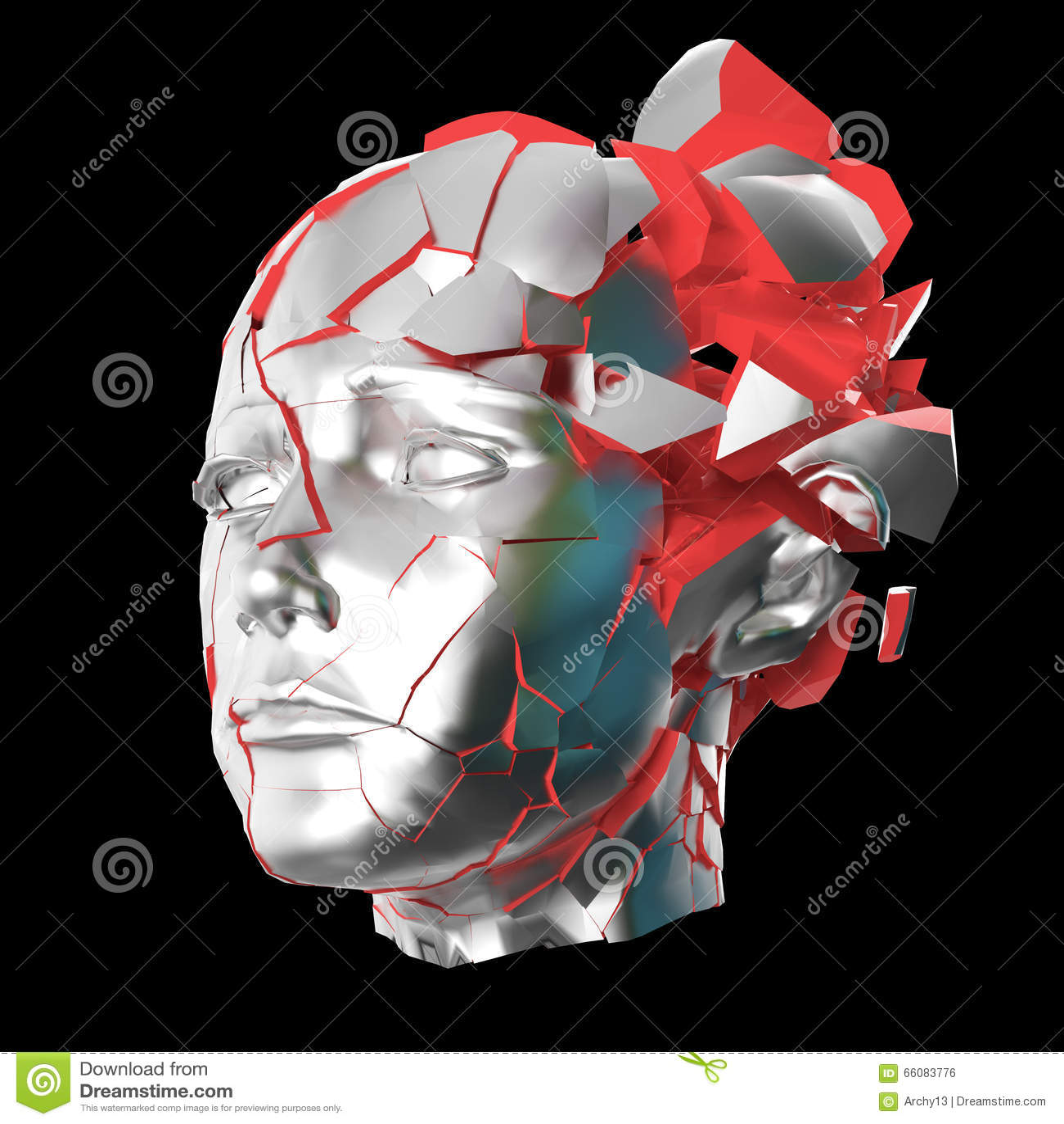 Glansowanej kobiety kierowniczy wybuchać zamykam - migrena, umysłowi problemy, stres