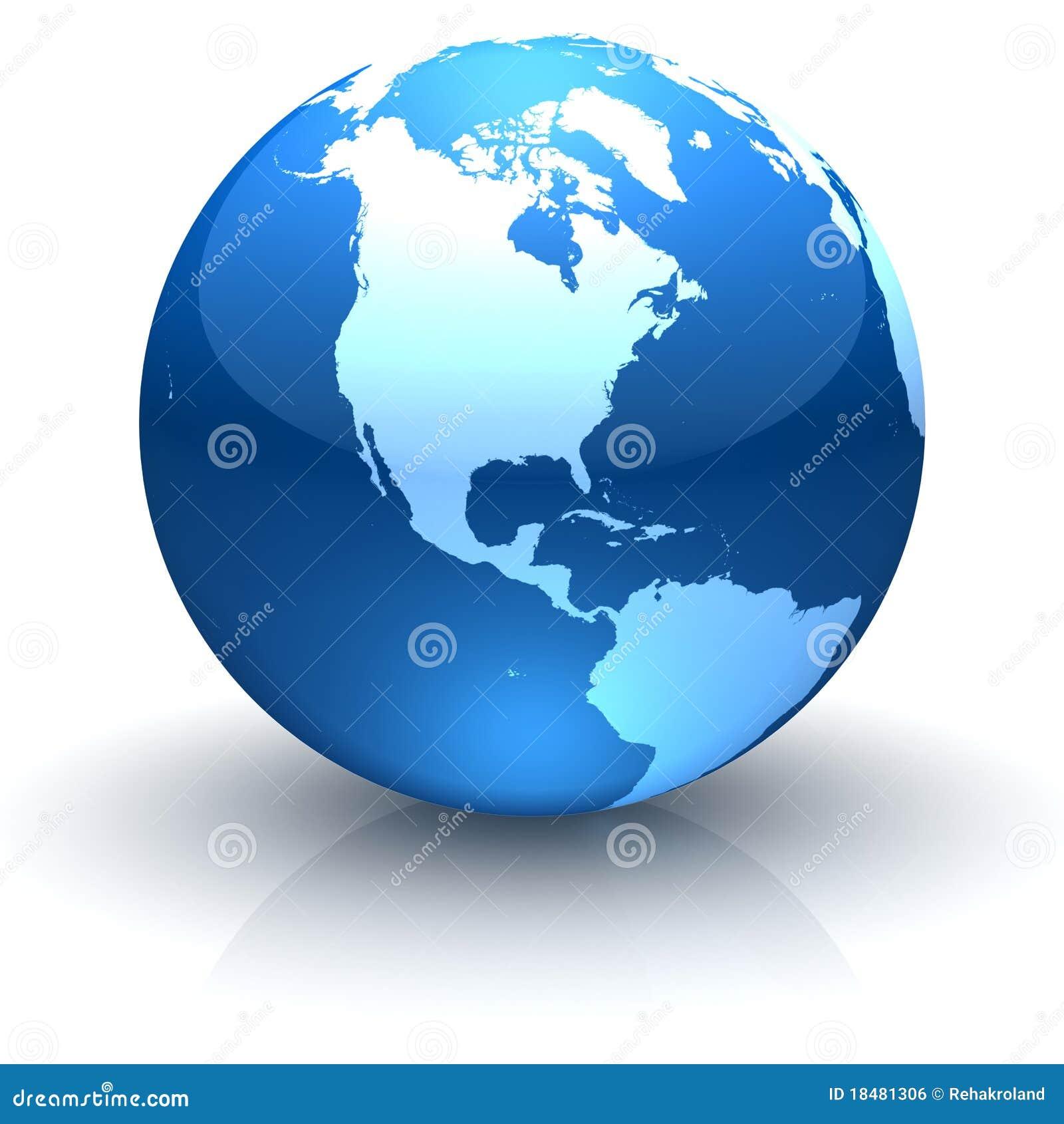 Glanzende blauwe bol die Noord-Amerika onder ogen ziet