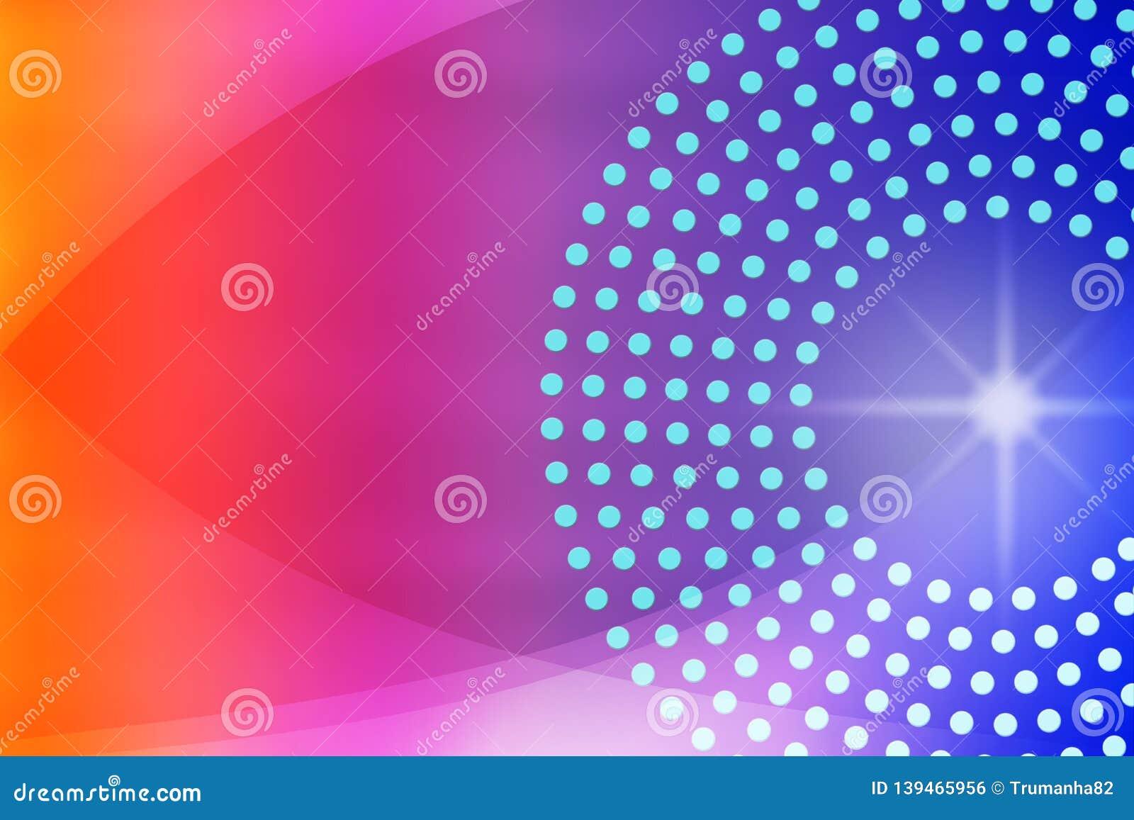 Glanzende Fonkeling, Cirkels, Punten en Krommen op Vage Blauwe, Purpere, Roze en Rode Achtergrond