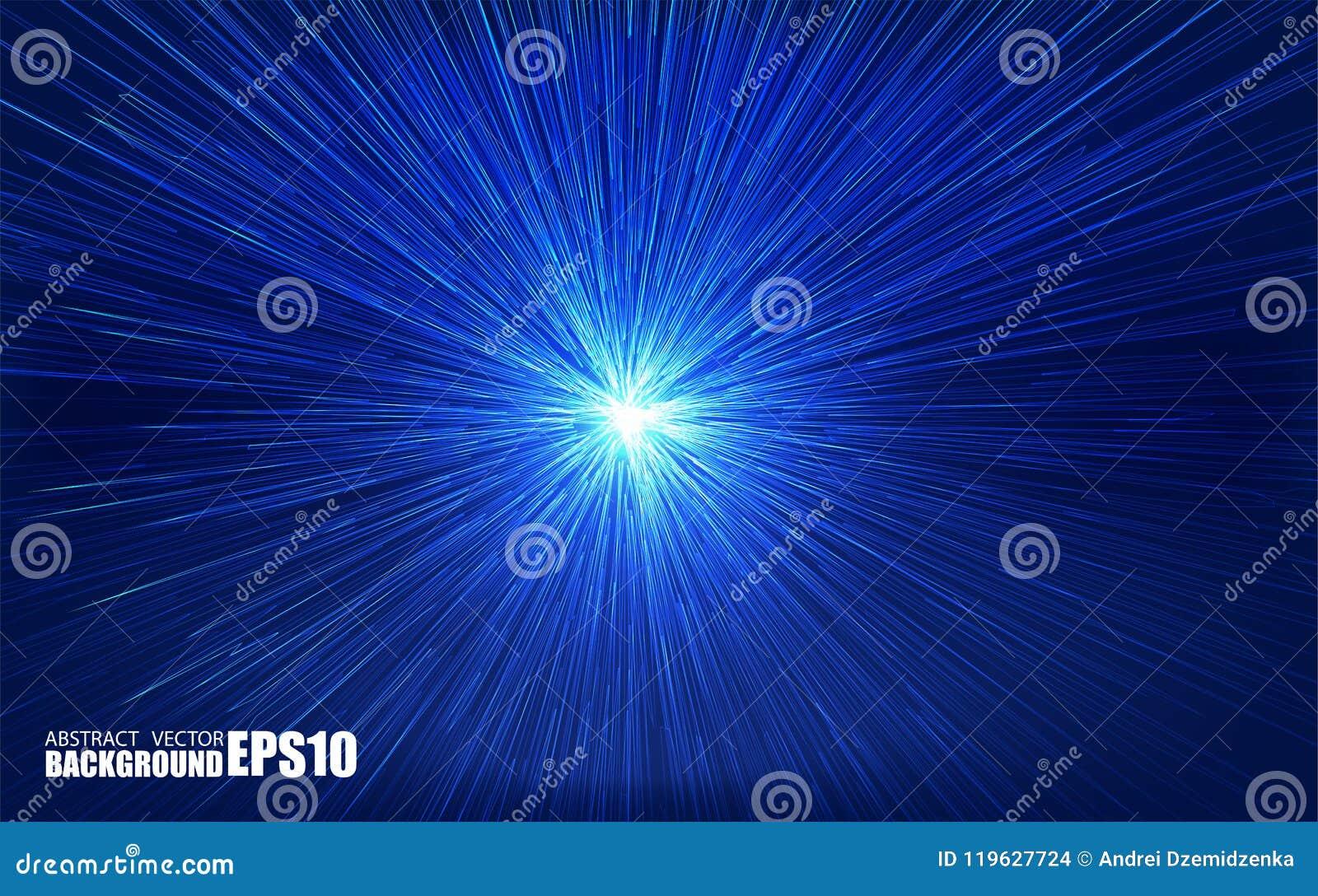 Glanzende radiale uitbarsting met lineaire deeltjes Vectorabsrtactillustratie Blauwe achtergrond met explosie Glanzende lichte st