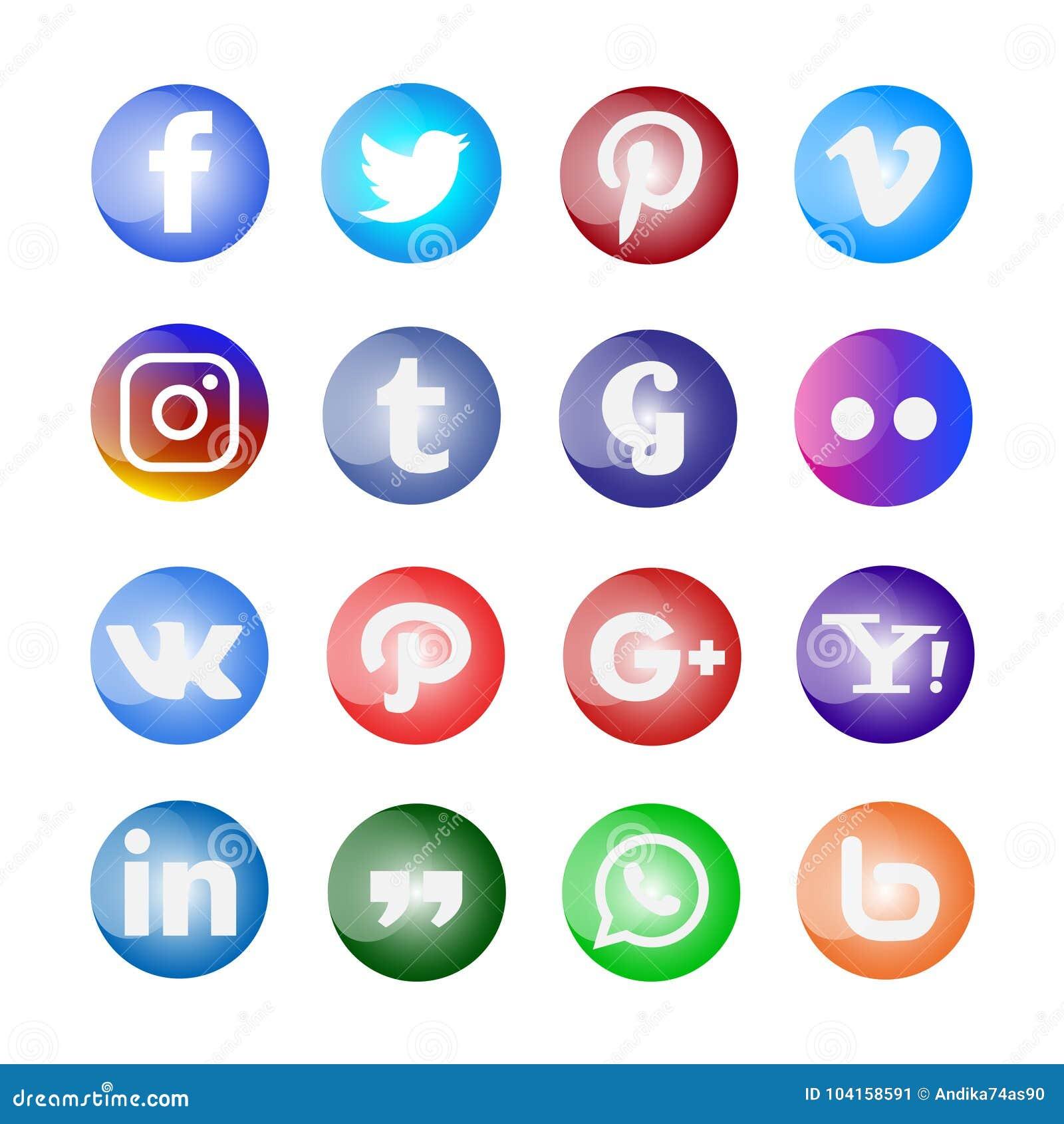 Glanzende Sociale media geplaatst pictogram en knopen