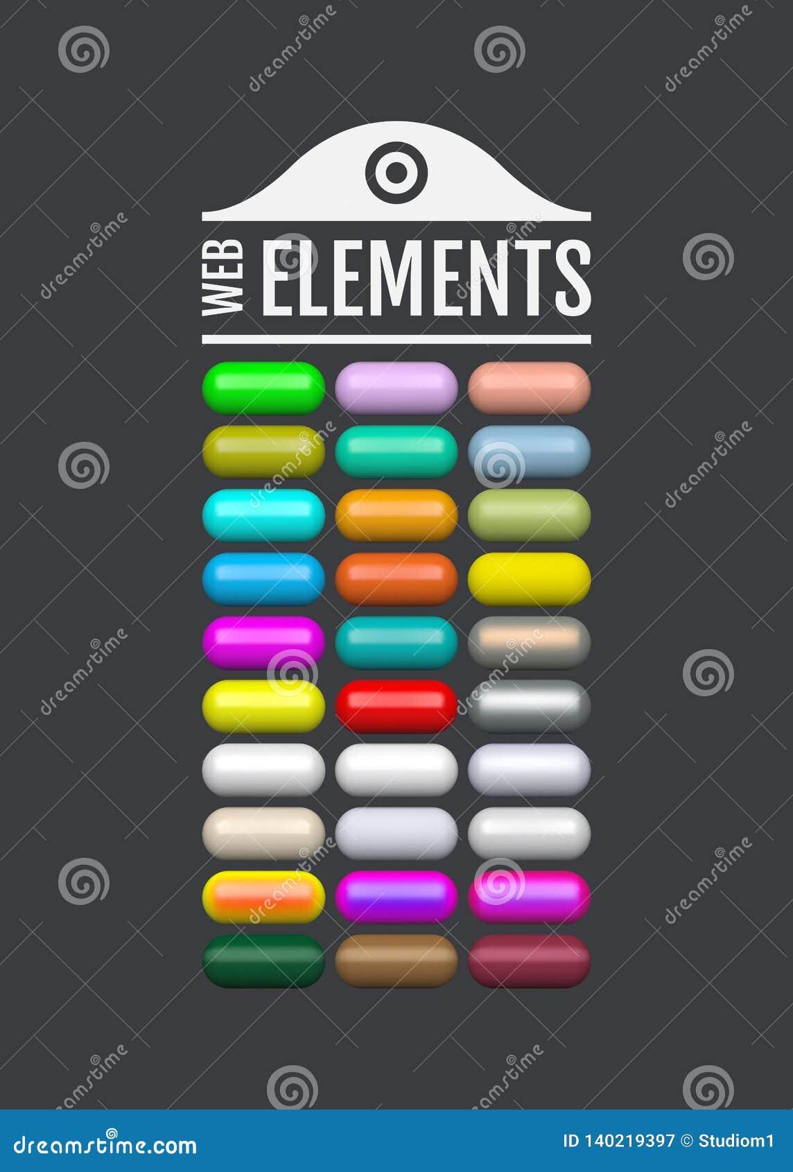 Glanzende Webelementen Gekleurde ovale knopen voor uw ontwerp 3d pictogrammen van het glasmenu Vector illustratie