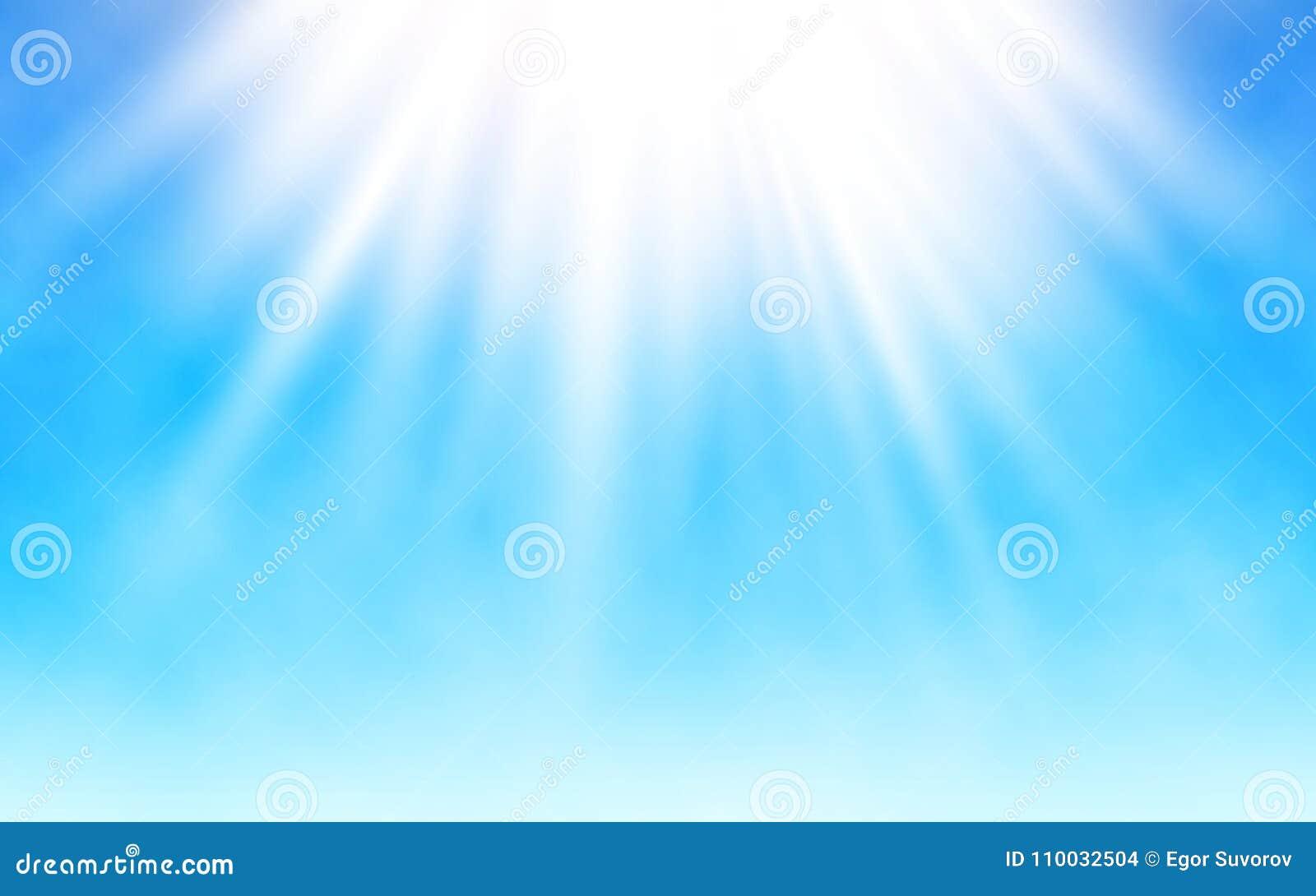 Glanzende zon op blauwe hemel Witte wolken en heldere zonstralen De warme Dag van de Zomer Realistische vectorillustratie