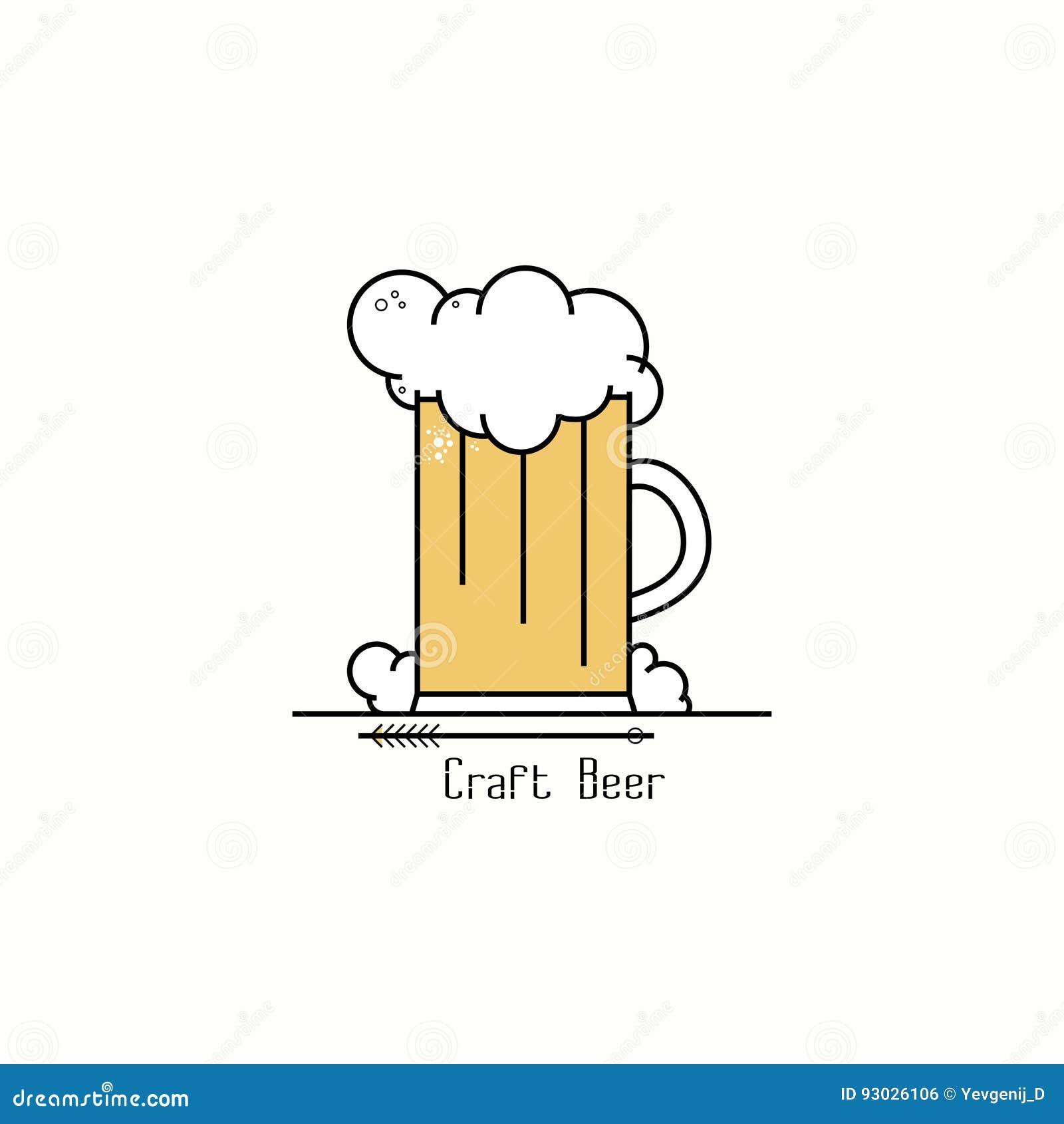 Glas bier met schuim Van het het kentekenembleem van de lijnkunst het ontwerpmalplaatje