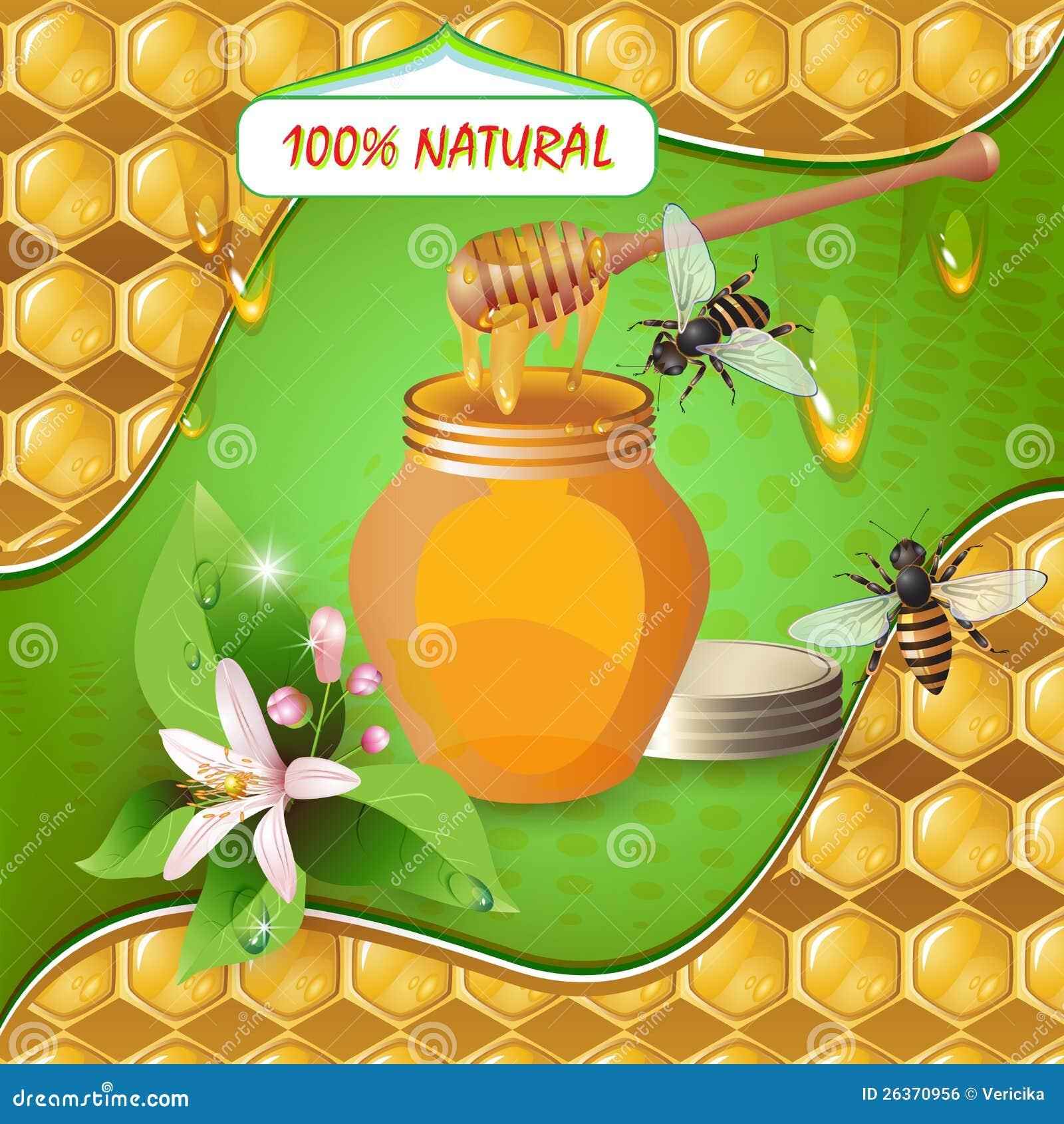Glas Honig mit hölzernem Schöpflöffel