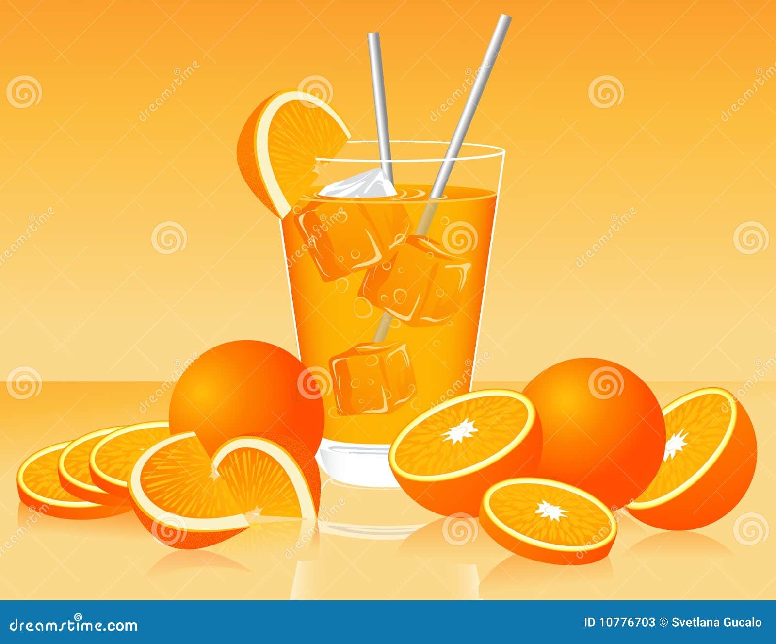 Glas jus d orange en sinaasappelen