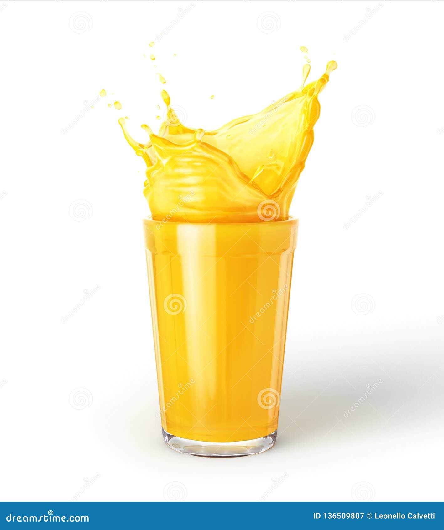 Glas Orangensaft mit Spritzen, lokalisiert auf weißem Hintergrund