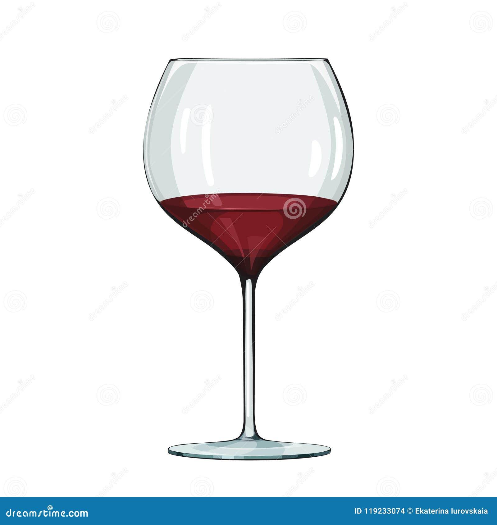 Glas Rotwein Vektorillustration auf Weiß