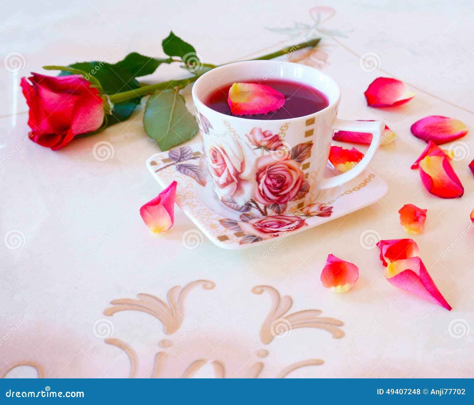 Download Glas Teerosen stockfoto. Bild von kaffee, pink, blüte - 49407248
