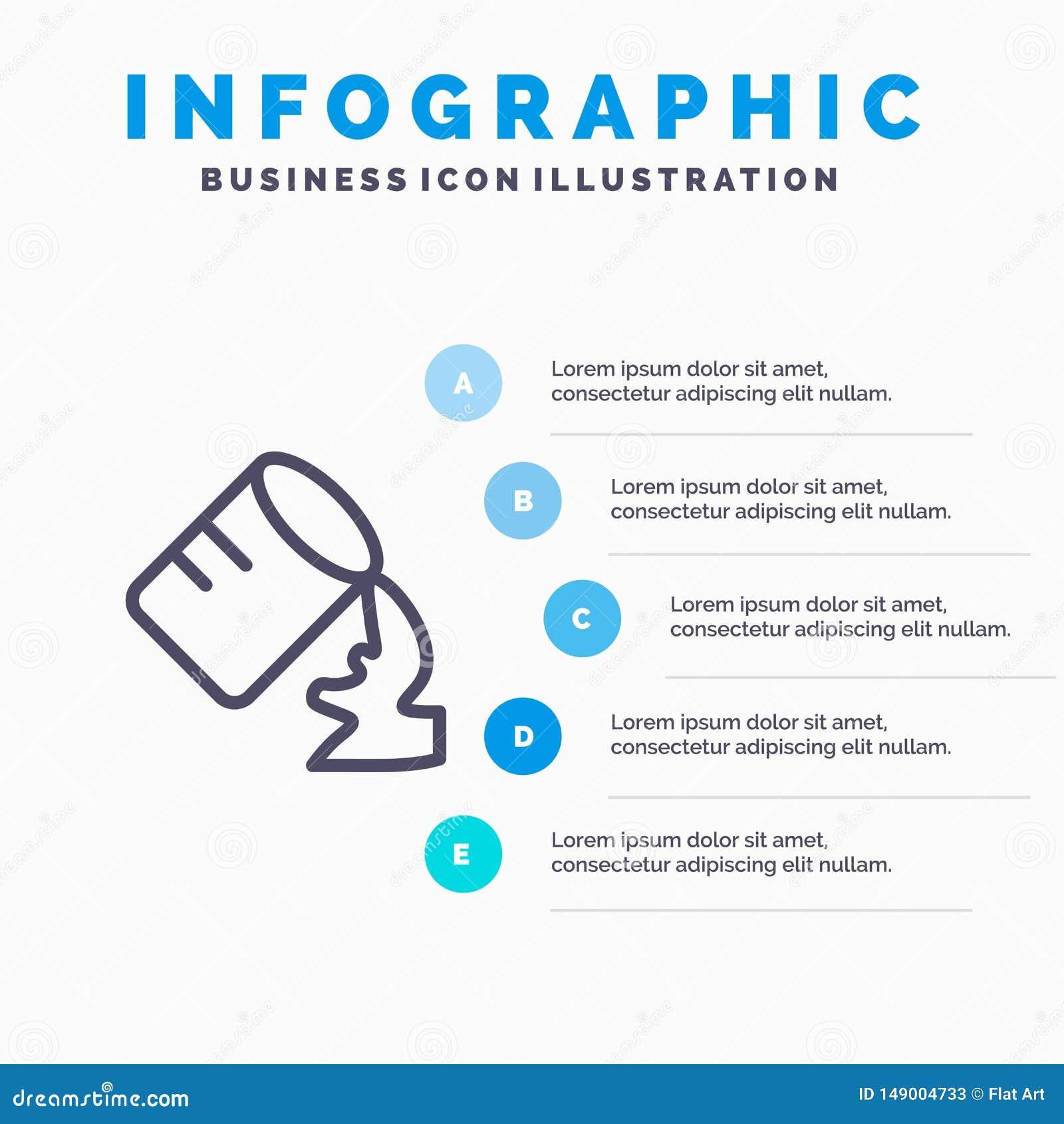 Glas, Water, Vochtig Lijnpictogram met infographicsachtergrond van de 5 stappenpresentatie