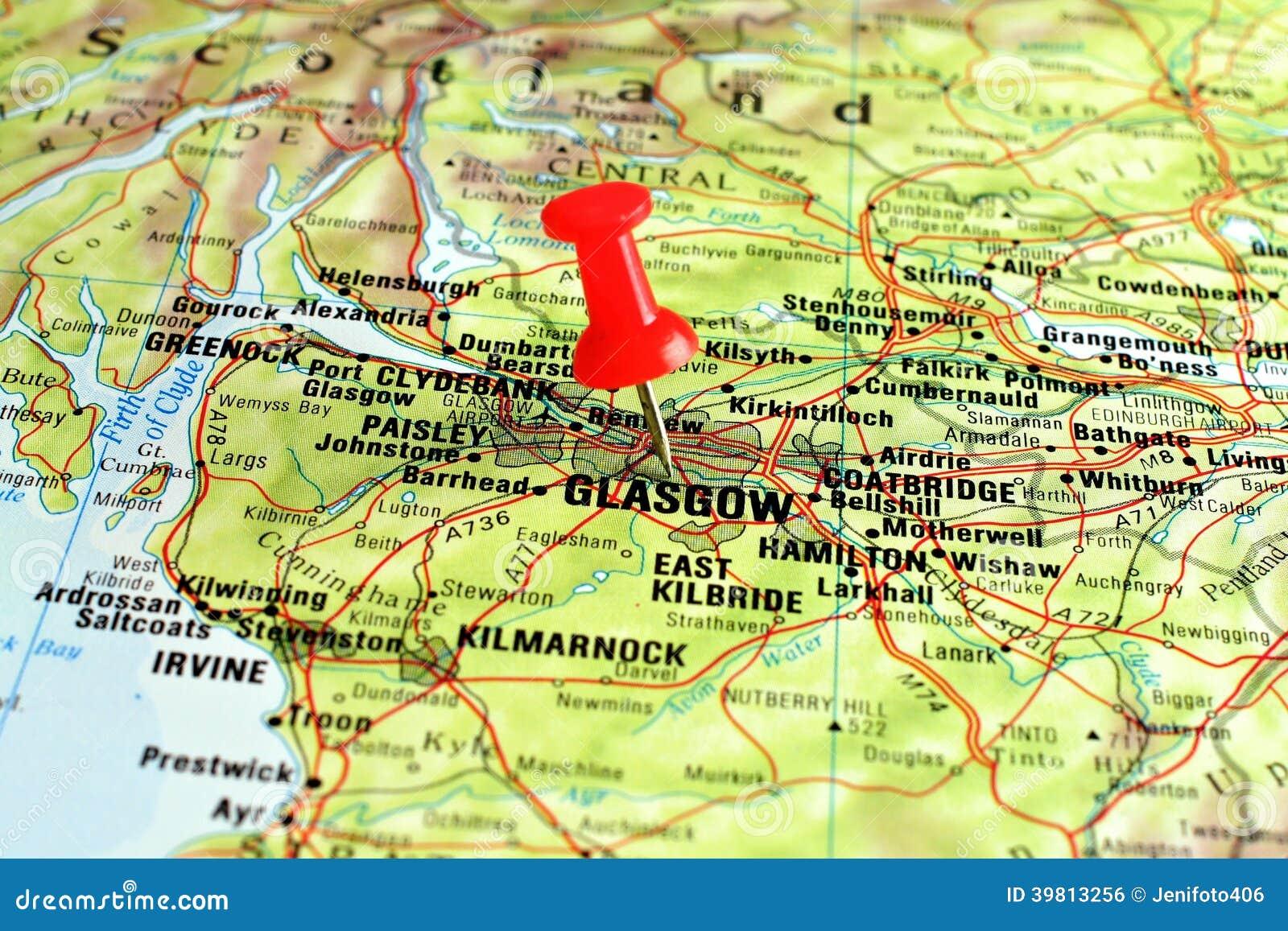 Glasgow Auf Karte Mit Zeiger Stockfoto Bild 39813256