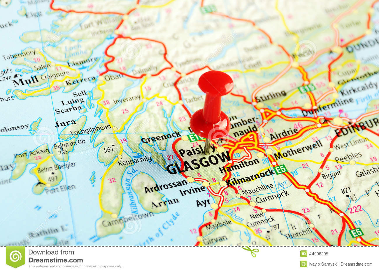 Map Of Glasgow Scotland Glasgow Scotland; Great Britain Map Stock Image   Image of kingdom