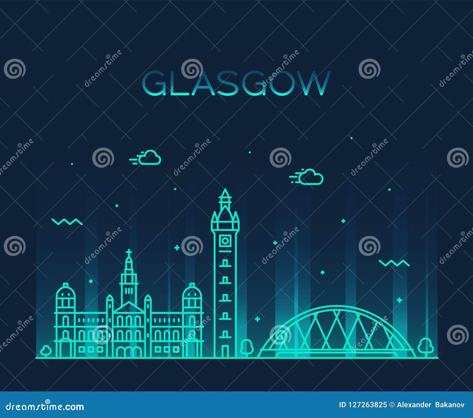 bc0e60736f16 Glasgow Skyline Scotland Trendy Vector Line Style Stock Vector ...