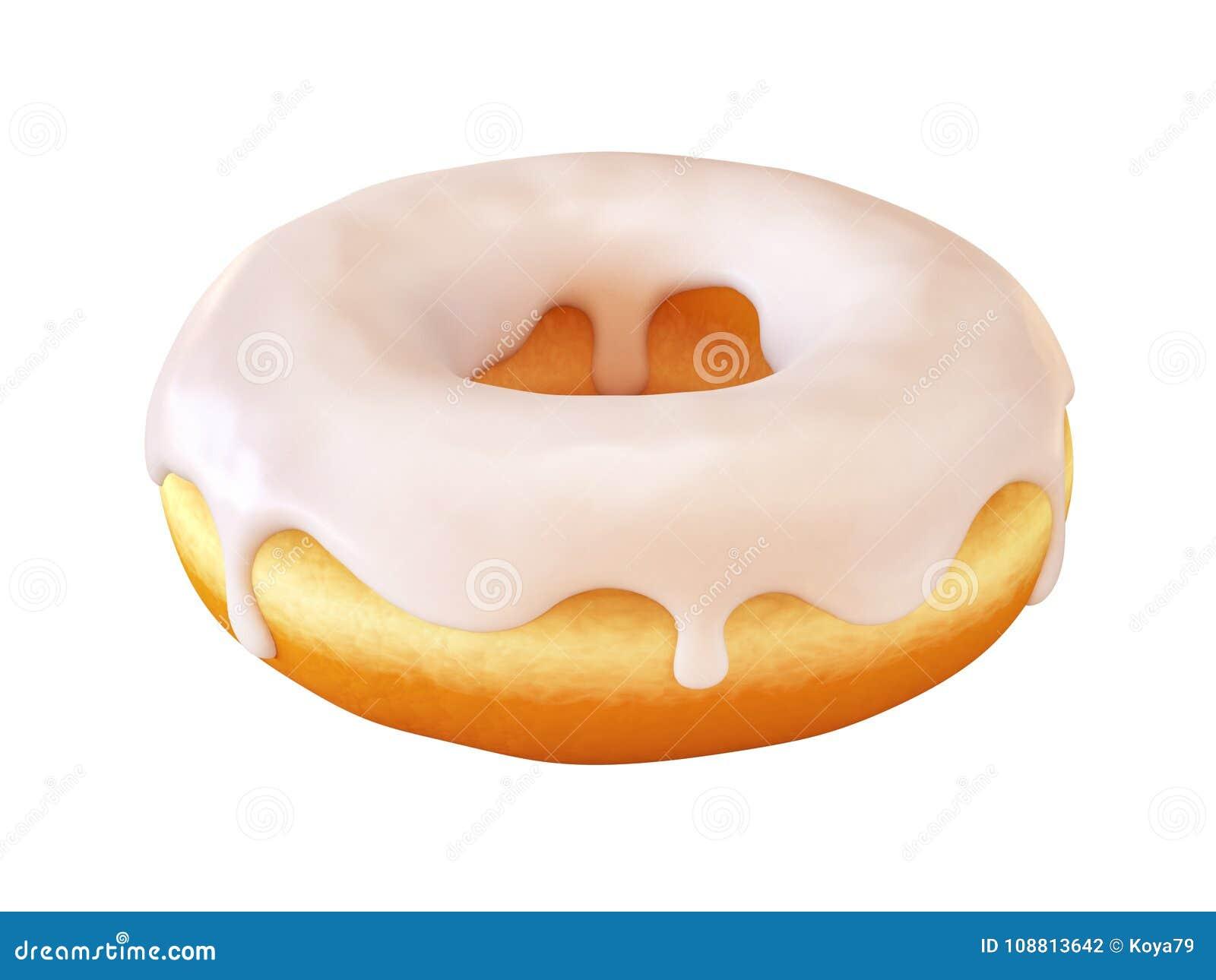 Glasig-glänzender Donut oder Donut mit weißer bereifender Wiedergabe 3d
