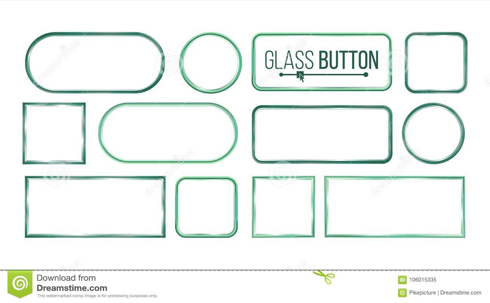 Glasknopen, Kadersvector Vierkant, Rechthoekige Ronde, Glasplatenelementen Realistische Platen Plastic Banners