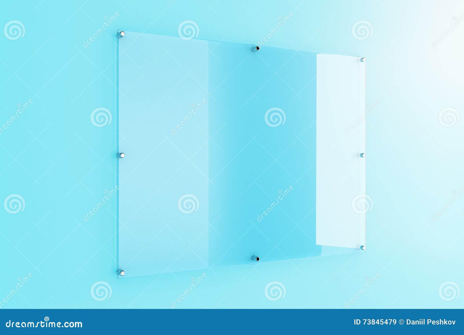 Glasplaat Voor Aan De Muur.Glasplaat Op Blauwe Muur Stock Illustratie Illustratie