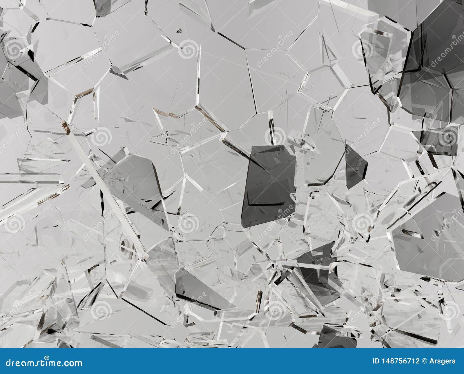 Glasplatten gebrochen oder auf Schwarzem geknackt