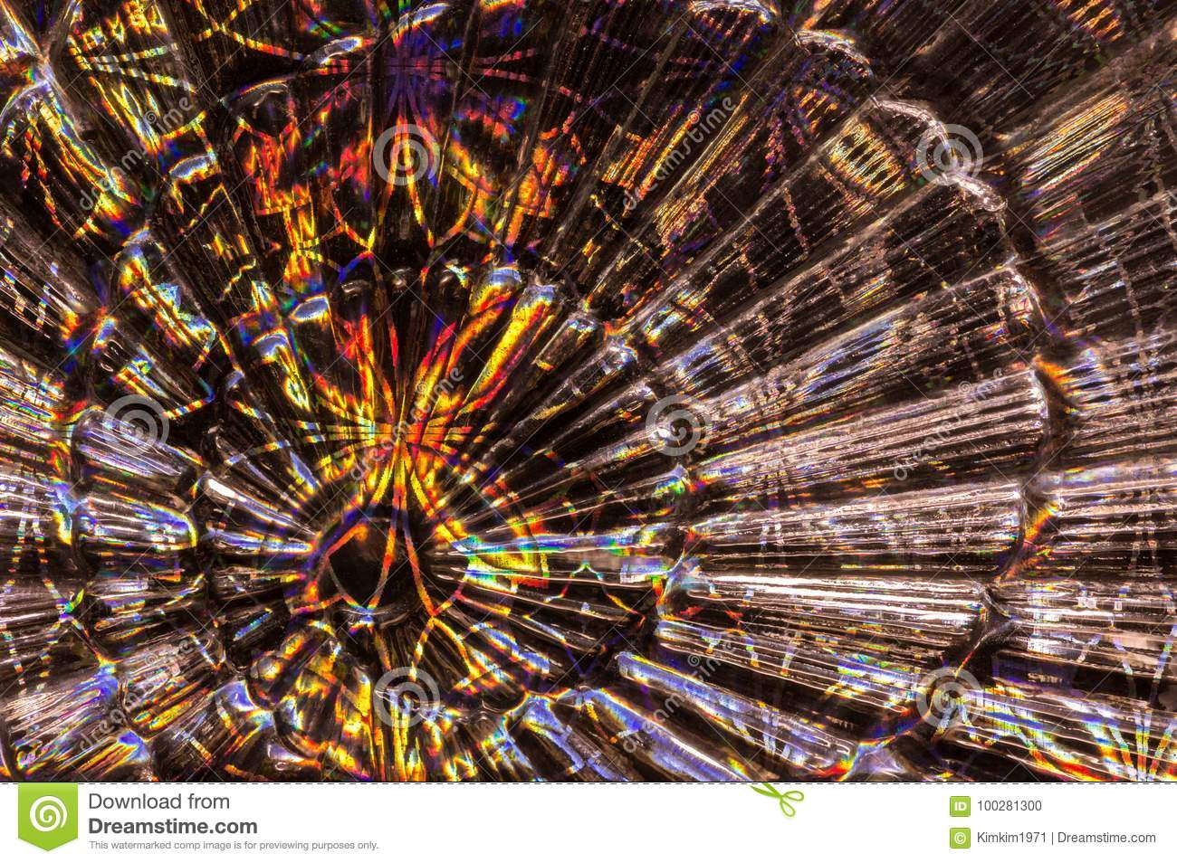 Glass abstract background with colorful paper. Background in the form of a fan.