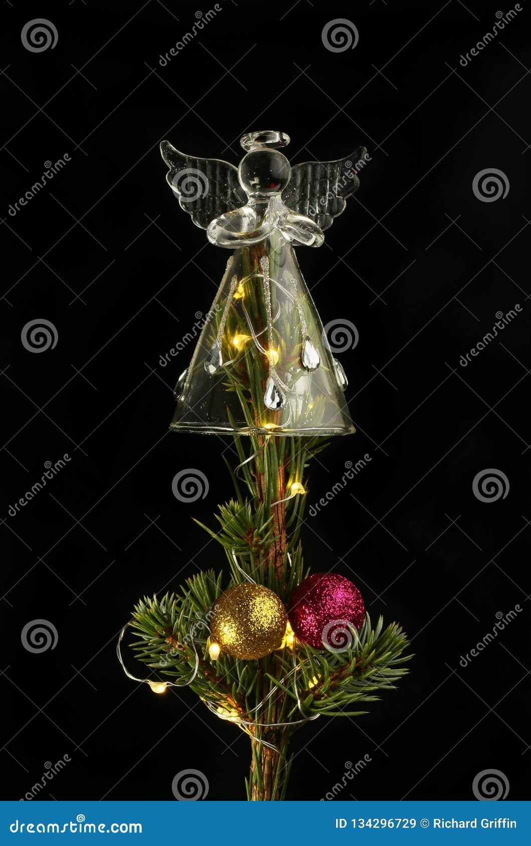 Glass angel on a Christmas tree