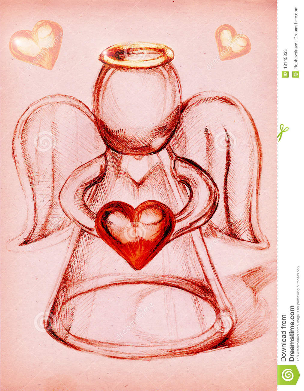 Glass angel with heart