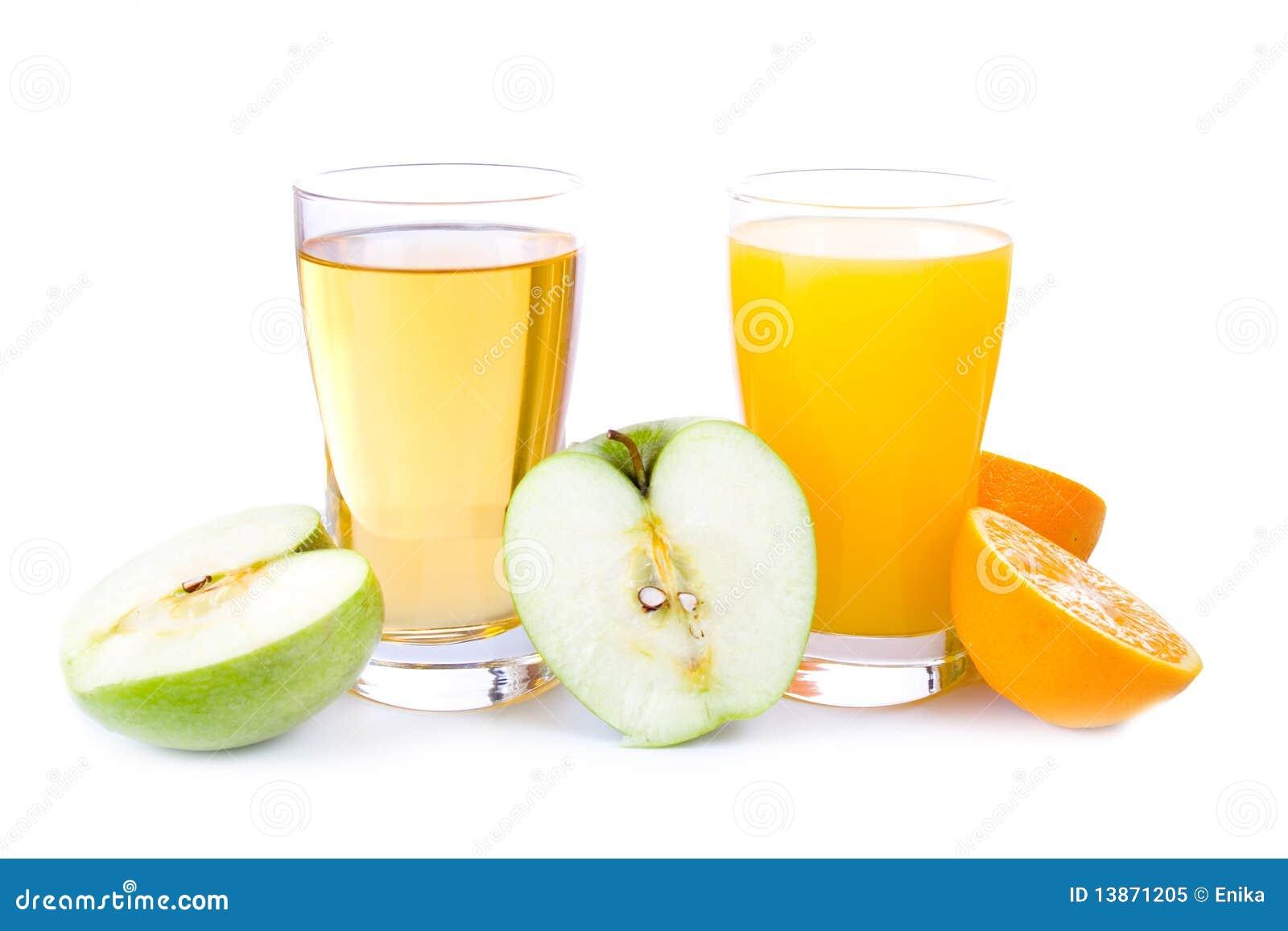 Glass Of Apple And Orange Juice Royalty Free Stock Photo - Image: 13871205