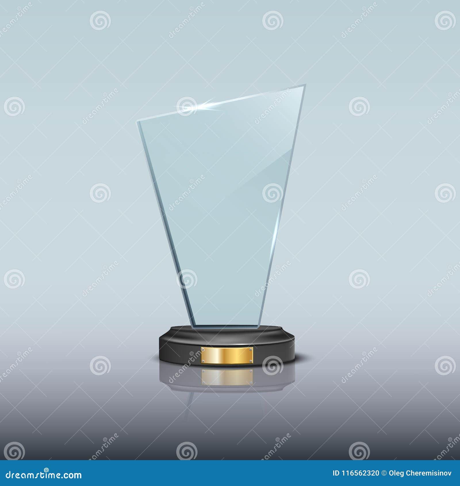 Glass Award Template  Vector Blank Glass Trophy Award  Stock