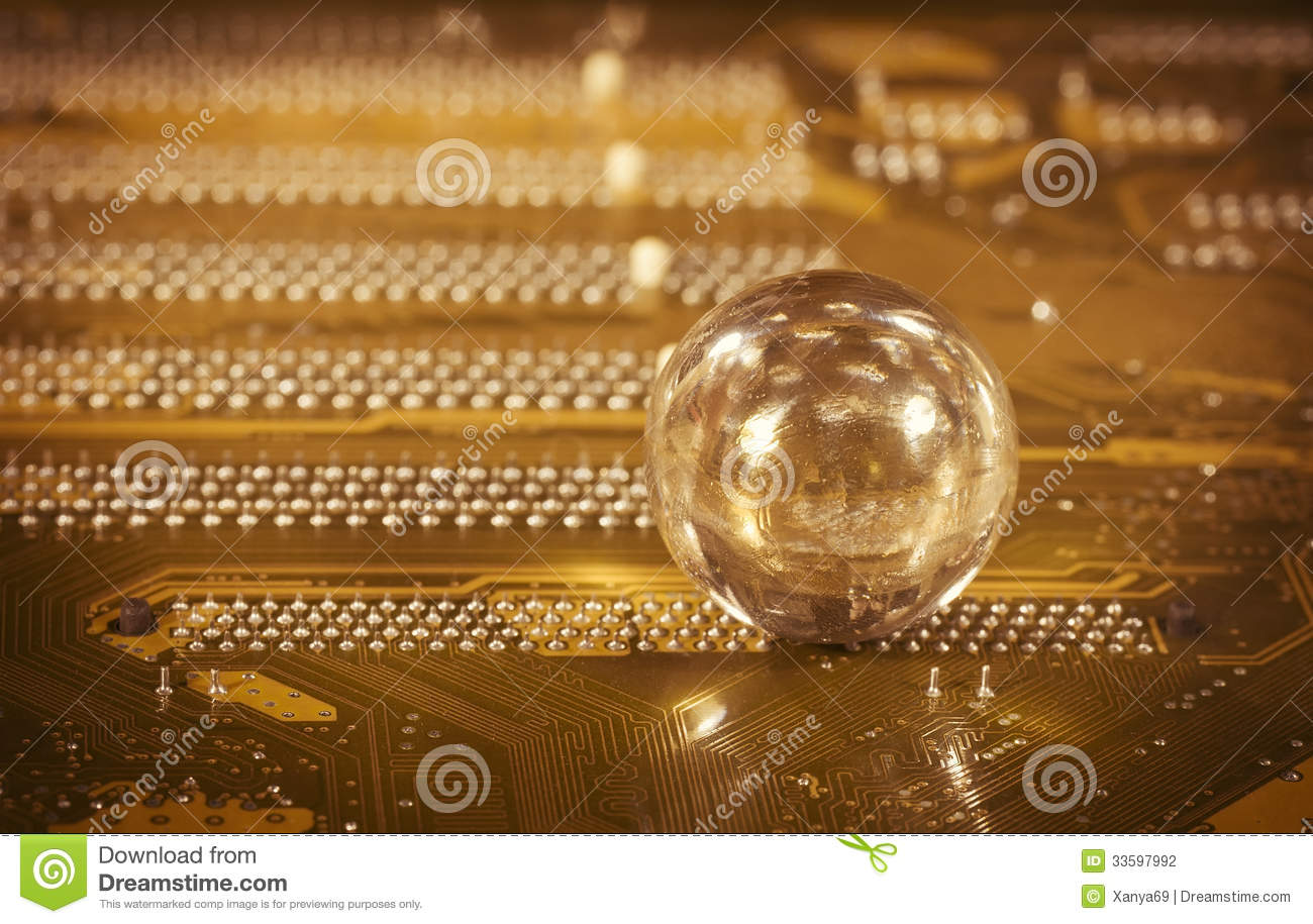 Glass ball and detail of PC