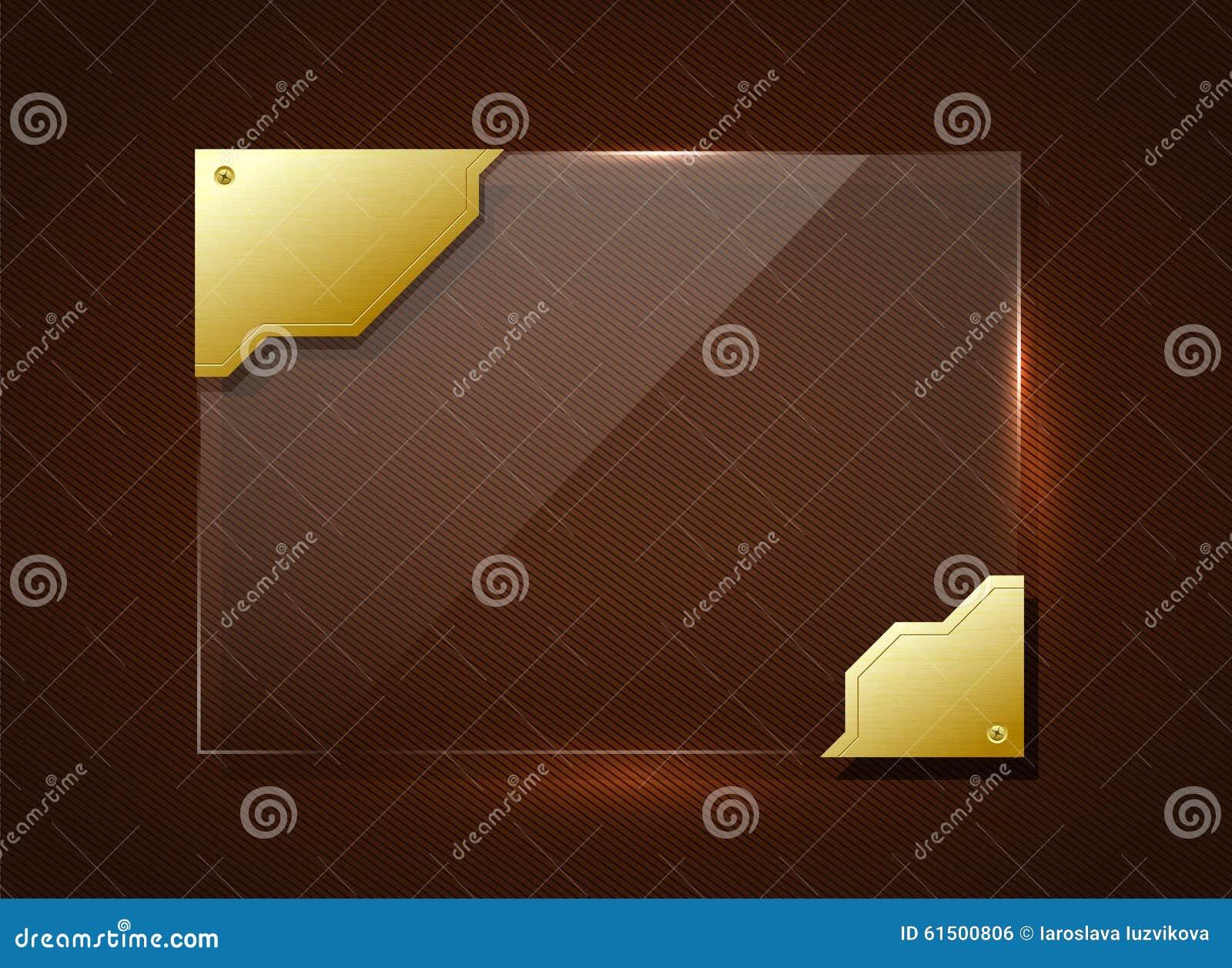 Glass baner i guld- ram