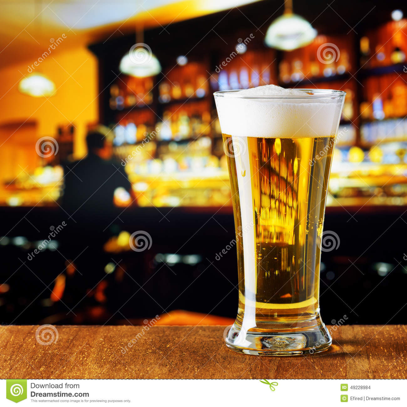Glass Of Beer In A Bar Stock Photo Image Of Full Liquid
